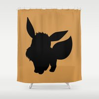 eevee Shower Curtains featuring Eevee Silhouette  by Jessica Wray