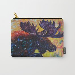 Moose in Turquoise Lake  Palette Knife  Painting by OLena Art Carry-All Pouch