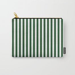 Original Forest Green and White Rustic Vertical Tent Stripes Carry-All Pouch