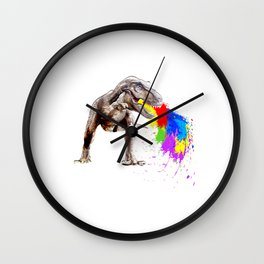 """Unique Dinosaur Tee For Animal Lovers """"T-rex Vomit Colors"""" T-shirt Design Jurassic Park Reptiles Wall Clock"""