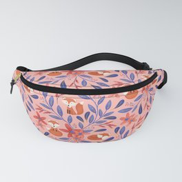 Folk Art Foxes | Coral Fanny Pack