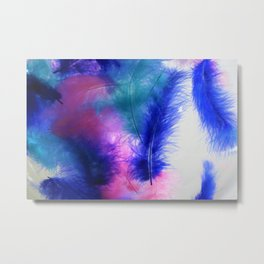 Colorful Feathers Metal Print