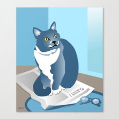 Jackson Cat Reads The News Canvas Print