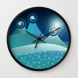 Fantasy Moonlit Mountains in Turquoise Wall Clock