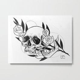 Rose branch skull Metal Print