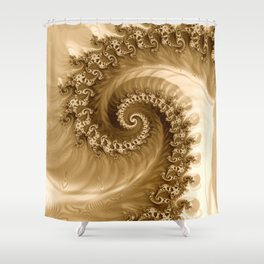 Sound of Seashell Sepia  Shower Curtain