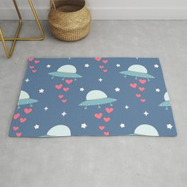 cute cartoon colorful ufo with hearts pattern Rug