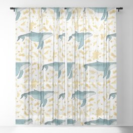 Blue Whales Swimming in Gold Sheer Curtain