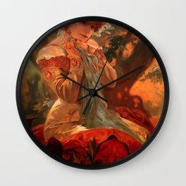 "Alphonse Mucha ""Sarah Bernhardt / Lefèvre - Utile"" Wall Clock"