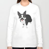 terrier Long Sleeve T-shirts featuring Boston Terrier by Sarah
