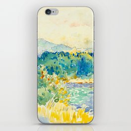 Mediterranean Landscape With a White House Watercolor Landscape Painting iPhone Skin
