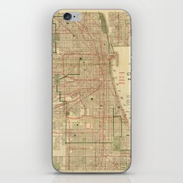 Vintage Map of The Chicago Railroads (1906) iPhone Skin