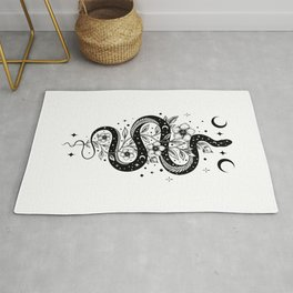 Serpent Spell -Black and White Rug