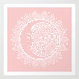 Mandala Moon Pink Art Print