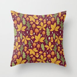 Autumn Forest Leafs and Mushrooms - Red Throw Pillow