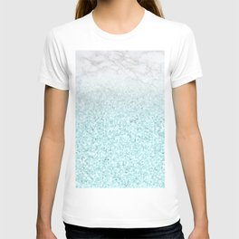 She Sparkles - Turquoise Sea Glitter Marble T-shirt