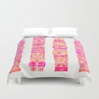 tiki Duvet Covers featuring Tiki Totems – Pink Palette by Cat Coquillette