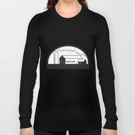 Farm Barn House Silo Black and White Long Sleeve T-shirt