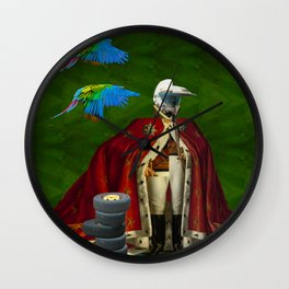 THE DISTORTED KING, THE DISTORTED COLORFUL PARROTS AND THEIR DISTORTED TREASURE OF SPARE TIRES I Wall Clock