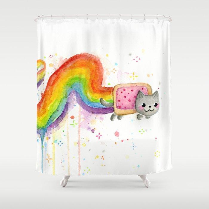 geeky shower curtains. Rainbow Cat Meme Geek Whimsical Animal Painting Shower Curtain By Geeky Curtains E