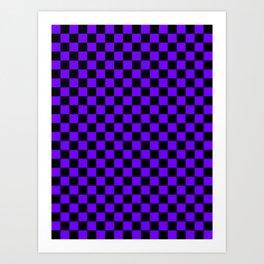 Black and Indigo Violet Checkerboard Art Print