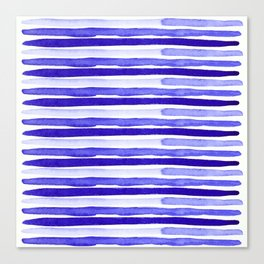 Ultra Violet Watercolour Stripes Canvas Print