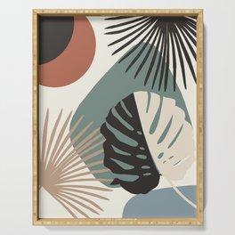 Minimal Yin Yang Monstera Fan Palm Finesse #1 #tropical #decor #art #society6 Serving Tray