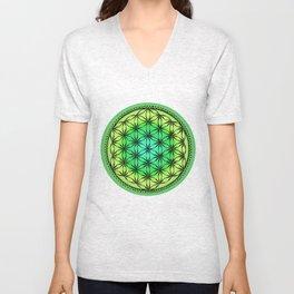 Flower of life (green) Unisex V-Neck