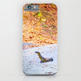 Goanna on a road in Australia iPhone Case