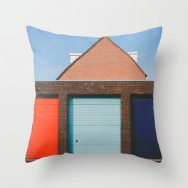 Colorful Garage doors in Amsterdam Throw Pillow