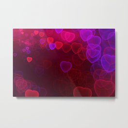 Pink, purple, red hearts fractal design Metal Print