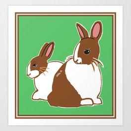 Chocolate Dutch Rabbits Art Print