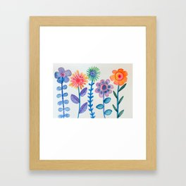 Funky Flowers Framed Art Print