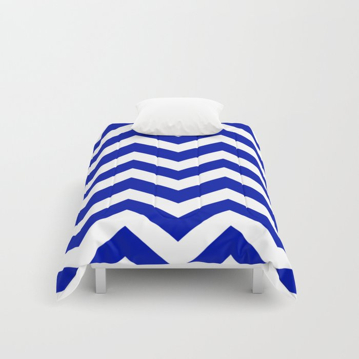 Zaffre Blue Color Zigzag Chevron Pattern Comforters By
