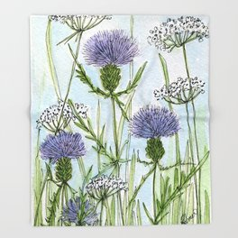 Thistle White Lace Watercolor Throw Blanket