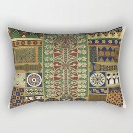 Assyrian pattern from Lornement Polychrome (1888) by Albert Racinet (1825-1893) Rectangular Pillow