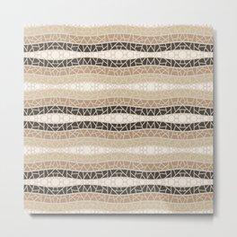 Mosaic Wavy Stripes in Beige and Browns Metal Print