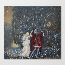 Lena dances with the knight  by John Bauer, 1915 Canvas Print