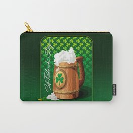 Wooden beer mug with foam and clover Carry-All Pouch