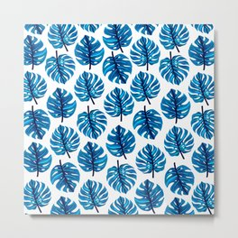 Blue Monstera Leaves Pattern Metal Print
