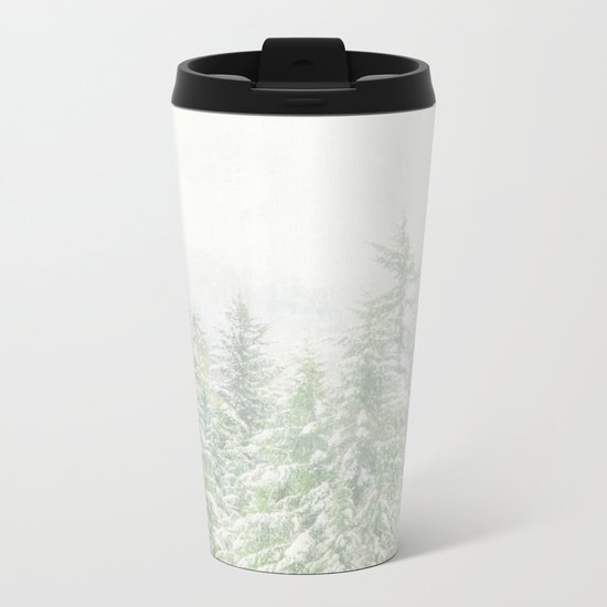 White Winter Forest with a Hint of Mint Metal Travel Mug