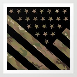 U.S. Flag: Military Camouflage Art Print