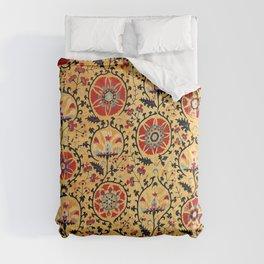 Shakhrisyabz Suzani  Antique Uzbekistan Embroidery Print Comforters
