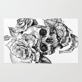 Black and White skull with roses pen drawing Rug