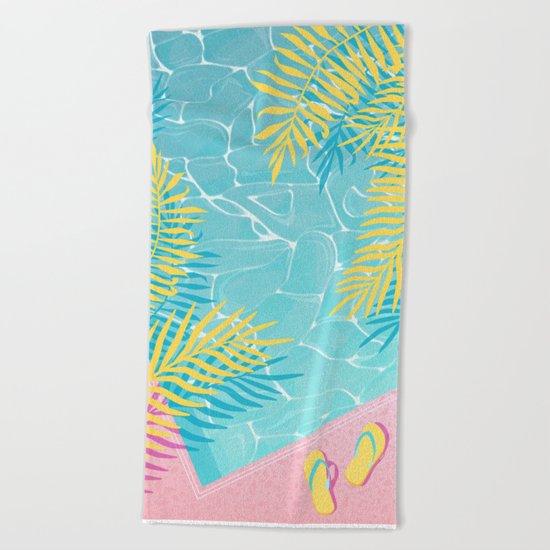 Tropical pool chill Beach Towel