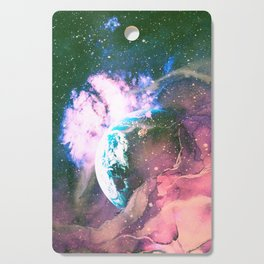 Space Earth Watercolor Cutting Board