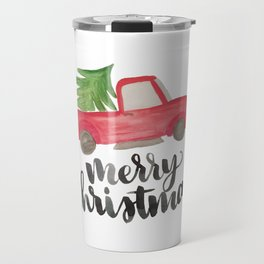 Merry Christmas Vintage Truck with Tree Travel Mug