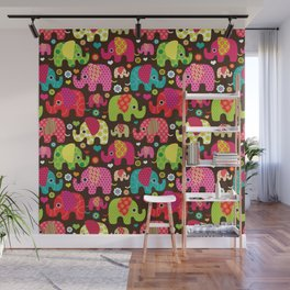 Colorful Elephants Wall Mural