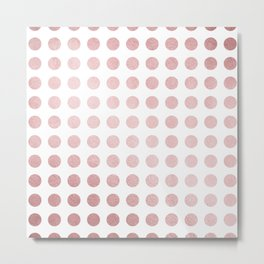 Simply Polka Dots in Rose Gold Sunset and White Metal Print