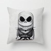 jack skellington Throw Pillows featuring Mini Jack Skellington by bimorecreative